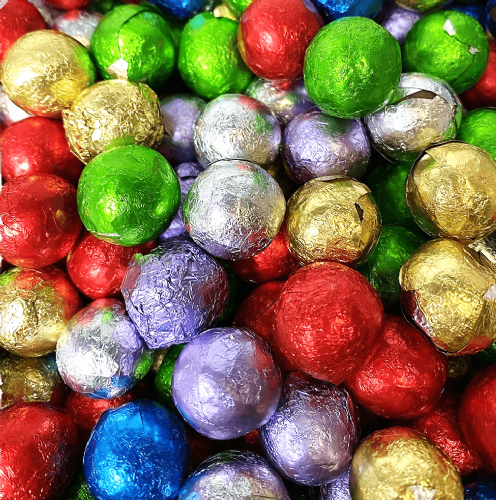 MILK CHOCOLATE FOILED COLOURED BALLS 3GK